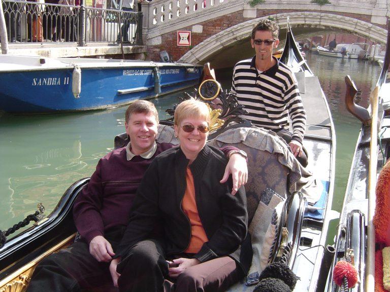 Gondola ride in Venice.