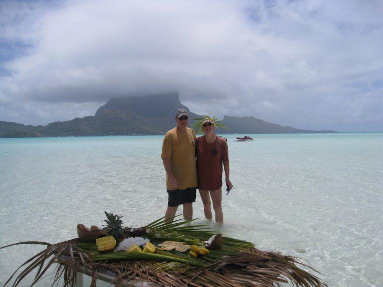 Racing around Bora Bora on jet skiis.
