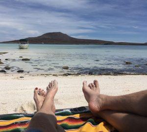 Lounging on a deserted island off the coast of Loreto, Baja Mexico