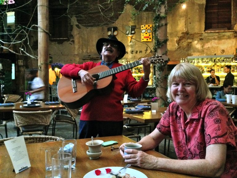 Being serenaded after an amazing dinner in Oaxaca.