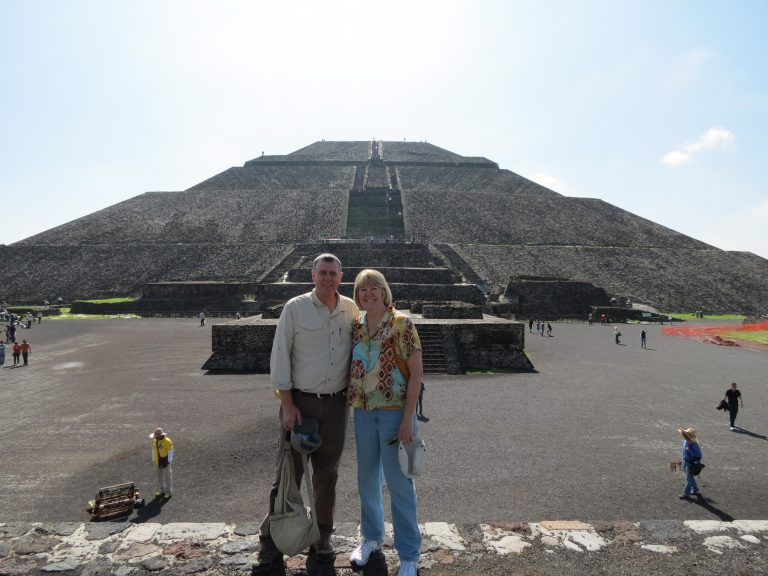 Climbing to the top of the Pyramid Of the Sun in Mexico City.