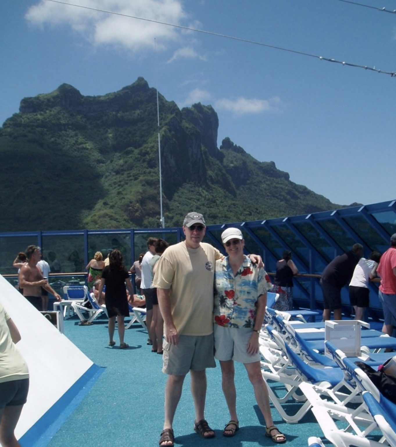 On the cruise ship with Bora Bora in the background.